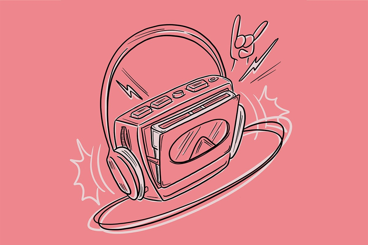Walkman con cassette muy punk